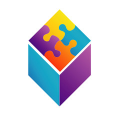 Colorful puzzle in a cube- corporate logo for business