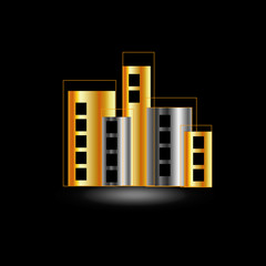 Gold and silver skyscrapers- logo for property business
