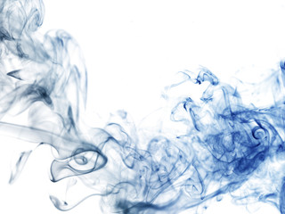 Blue smoke in white background
