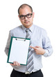 Businessman show with blank page on clipboard