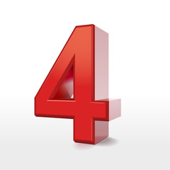 red 3d number 4