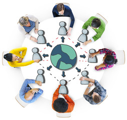 Diverse People in a Meeting About Globalization