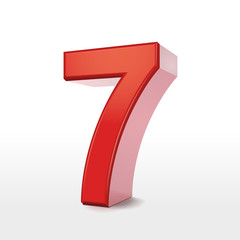 red 3d number 7