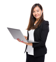 Business woman use laptop