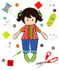Vector of Doll Sewing with Sewing Tools