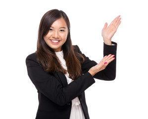 Asian businesswoman with hand presentation
