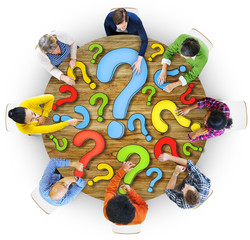 Multiethnic Group of People with Question Mark