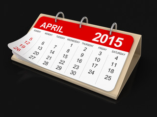 Calendar -  April 2015  (clipping path included)
