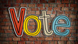 canvas print picture - The Word Vote on a Brick Wall