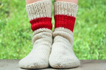 pair of wool knitted socks