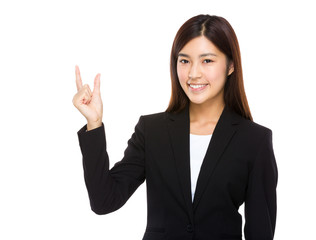 Businesswoman with finger gap