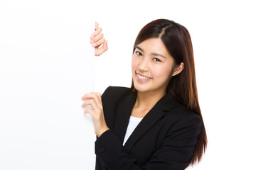 Businesswoman hold with blank board