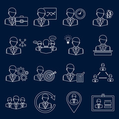 Business and management icons outline