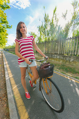 Young Woman Going by Bike, Sustainable Commuting