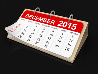 Calendar -  december 2015 (clipping path included)