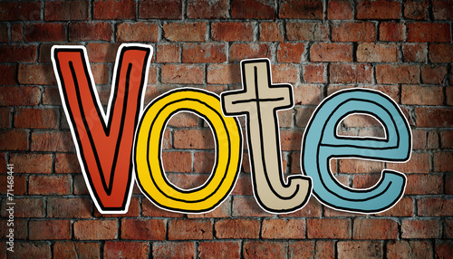 canvas print picture The Word Vote on a Brick Wall