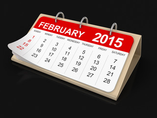 Calendar -  february 2015  (clipping path included)