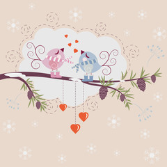 Loving birds - vector background