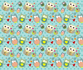 Vector of owl pattern for kids with Background