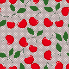 Vector seamless pattern with cherry