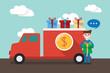 flat design, delivery man concept illust