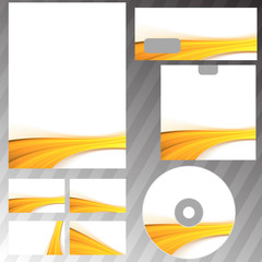 Golden wave border corporate mock-up set