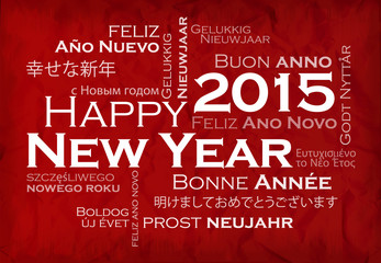 Happy New Year 2015 international language tag cloud