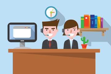 flat design, telemarketing concept illust