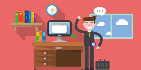 flat design, work space concept illust