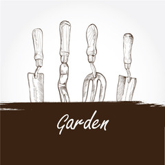 vector illustration of gardening tools background. Hand drawn
