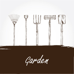 vector illustration of gardening tools. Hand drawn design