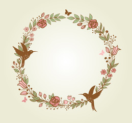 Floral frame and birds