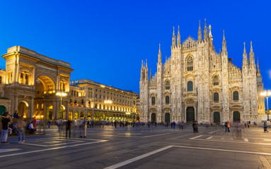 Night view of Duomo, Vittorio Emanuele Gallery in Milan, Italy