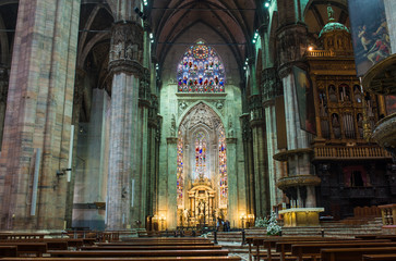 Interior of Duomo (Cathedral) in Milan. Italy