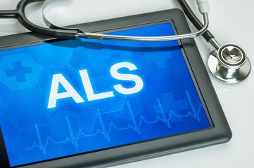 Tablet mit der Diagnose ALS auf dem Display