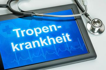 Tablet mit der Diagnose Tropenkrankheit auf dem Display