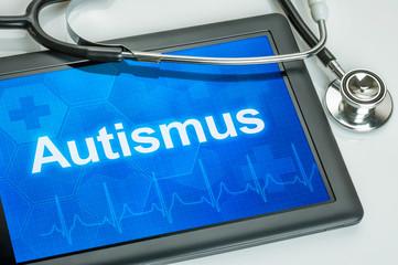Tablet mit der Diagnose Autismus auf dem Display