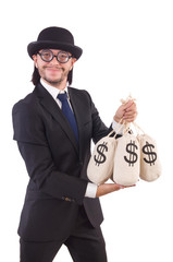 Man with sacks of money isolated on white