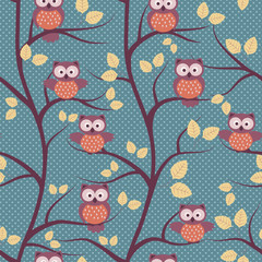 Autumn seamless pattern with owls