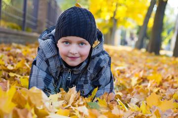 Мальчик ребенок в осенних желтых листьях