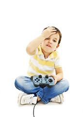 Boy using video game controller