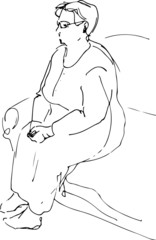 sketch of a grandmother sitting resting