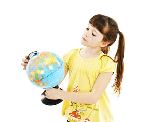 Girl looking at a globe on white background