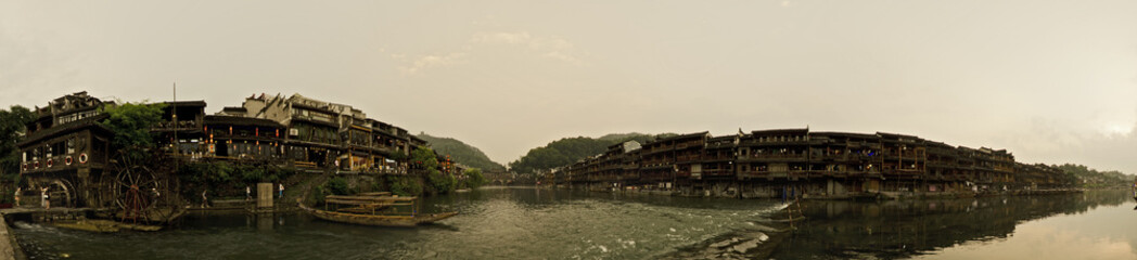 Panorama of the river in Fenghuang town