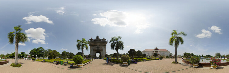 Panorama of Patuxai monument in Vientiane, Laos