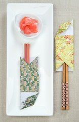 Case for rods sushi origami paper