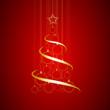 Obrazy na płótnie, fototapety, zdjęcia, fotoobrazy drukowane : Vector Abstract Golden Christmas Tree on red background