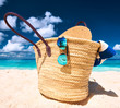 canvas print picture - Beautiful beach with bag at Seychelles