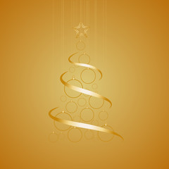 Vector Abstract Golden Christmas Tree on golden background