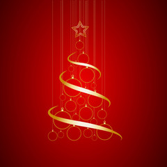 Vector Abstract Golden Christmas Tree on red background
